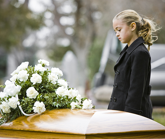 girl at a funeral